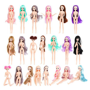 30cm-1-6-Scale-Flexible-BJD-26-Jointed-Girl-Doll-Nude-Body-w-Hair-DIY