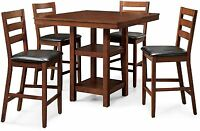 Counter Height Dining Set Dalton Park 5 Piece Mocha Garden Table High Chair Wood