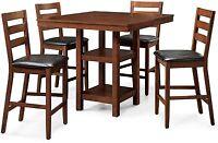 Counter Height Dining Set Dalton Park 5 Piece Mocha Garden Table High Chair Wood
