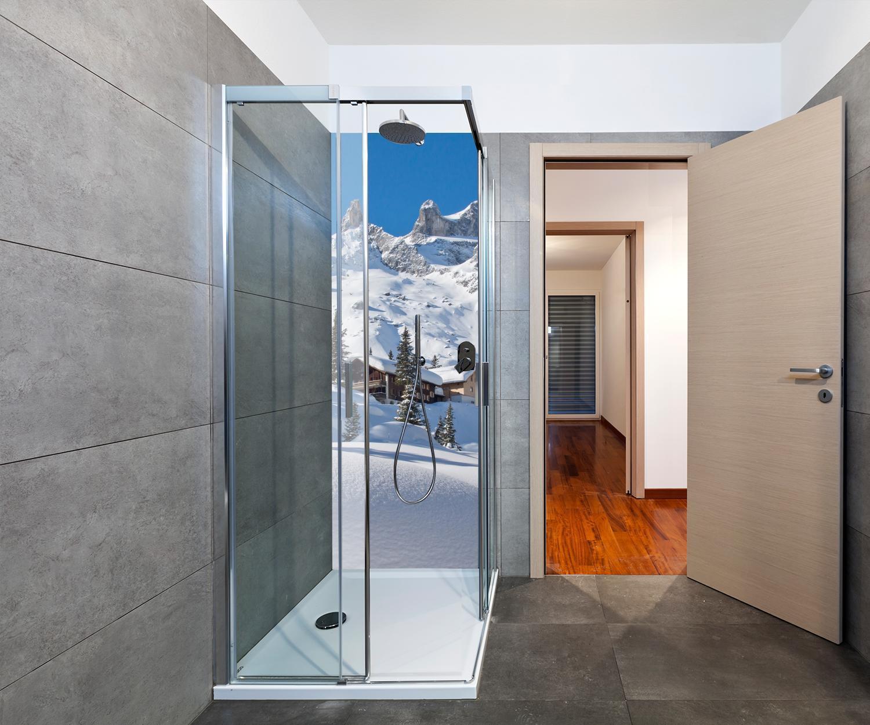 Fliesen-Aufkleber 3D Fliesen-Bild Fliesen-Tattoo Berg-Panorama Alpen-Landschaft