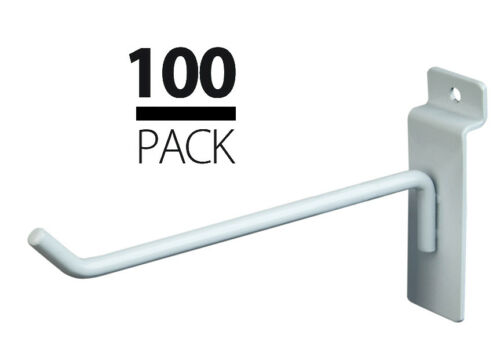 "6/"" 50 each 4/"" 100 NEW Slatwall Metal Hook Bundle White"