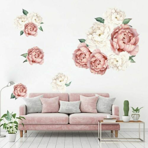 Large Peony Rose Flowers Art Wall Sticker Backdrop Decals Living Room Decor US