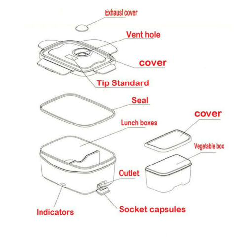 Portable Electric Heating Lunch Box Bento Food Warmer Heater Lunchboxes Office