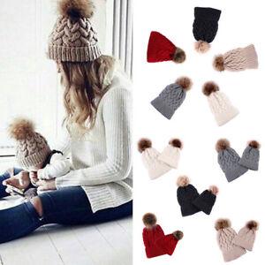Women Kids Baby Child Warm Winter Knit Beanie Fur Pom Bobble Hat ... c9b42c1f4f57