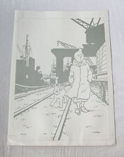 Tintin +/- 1950 auth. UNEDITED print proof (port of Antwerp) - HANDSIGNED Hergé