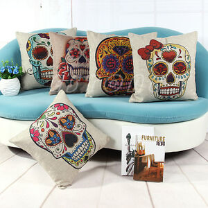Image Is Loading Vintage Home Decor Sugar Skull Cotton Linen Throw