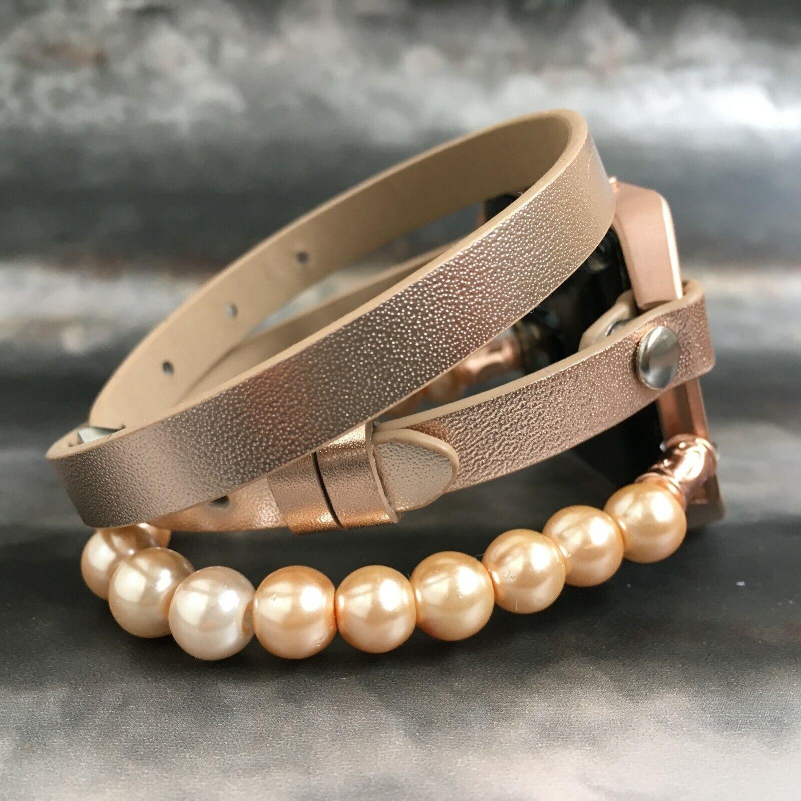 Fitbit Blaze Watch Band pink gold Multi Wrap PU Leather Strap Bracelet Women