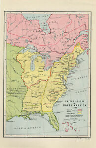 Details about Antique Print - Map Of United States Of North America 1783