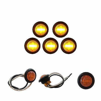 """5 3/4"""" AMBER LED CLEARANCE MARKERS BULLET TRUCK TRAILER MARKER LIGHTS BARE WIRES"""