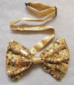éNergique Vintage Bow Tie Homme Dickie Nœud Papillon Réglable Rétro Mousseux Sequin Or-afficher Le Titre D'origine
