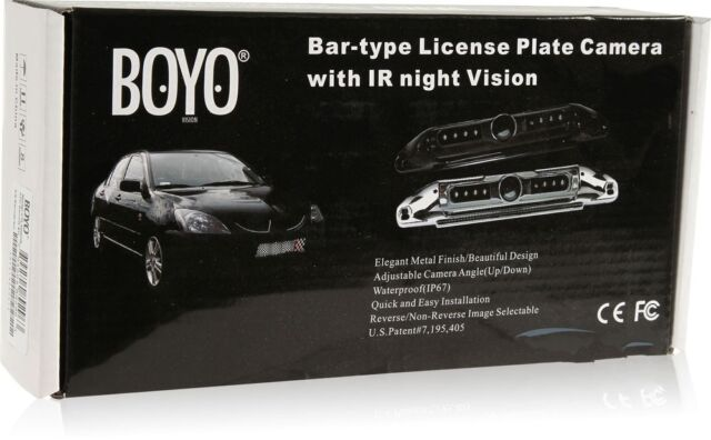 Black BOYO VTL420CIR Bar-Type License Plate Camera with IR Night Vision