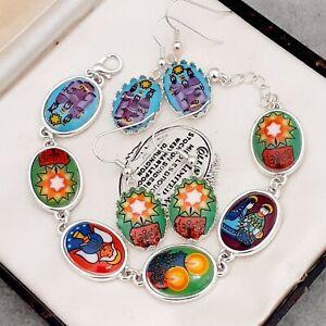 Fabulous-Vintage-Glass-Christmas-Nativity-Cabochon-Bracelet-Earrings-Gift-Boxed