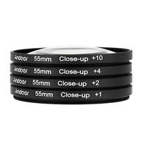 Andoer 55mm Macro Close-Up Filter Set +1 +2 +4 +10 + Pouch for Nikon Canon Sony
