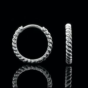 Huggie-Hoop-Earrings-Solid-14K-White-Gold-Twisted-Rope-Cable-Design-14mm