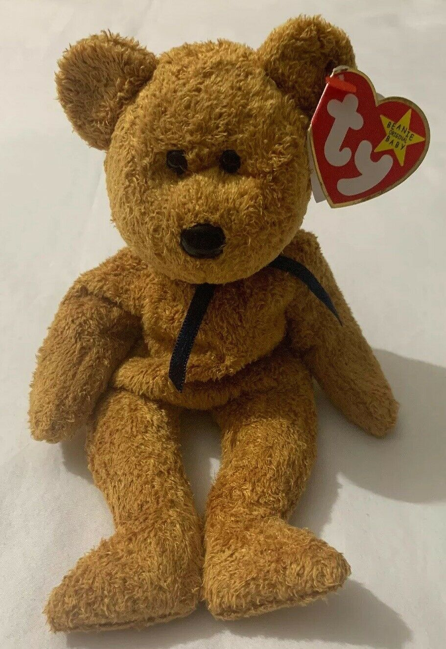 Super Rare RETIRED Ty Beanie Baby FUZZ Bear With Errors & Tags Free Ship