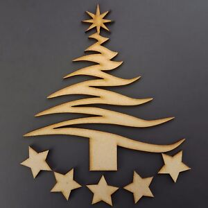 Image Is Loading Christmas Tree Blank MDF Bespoke Decoration Wooden Craft