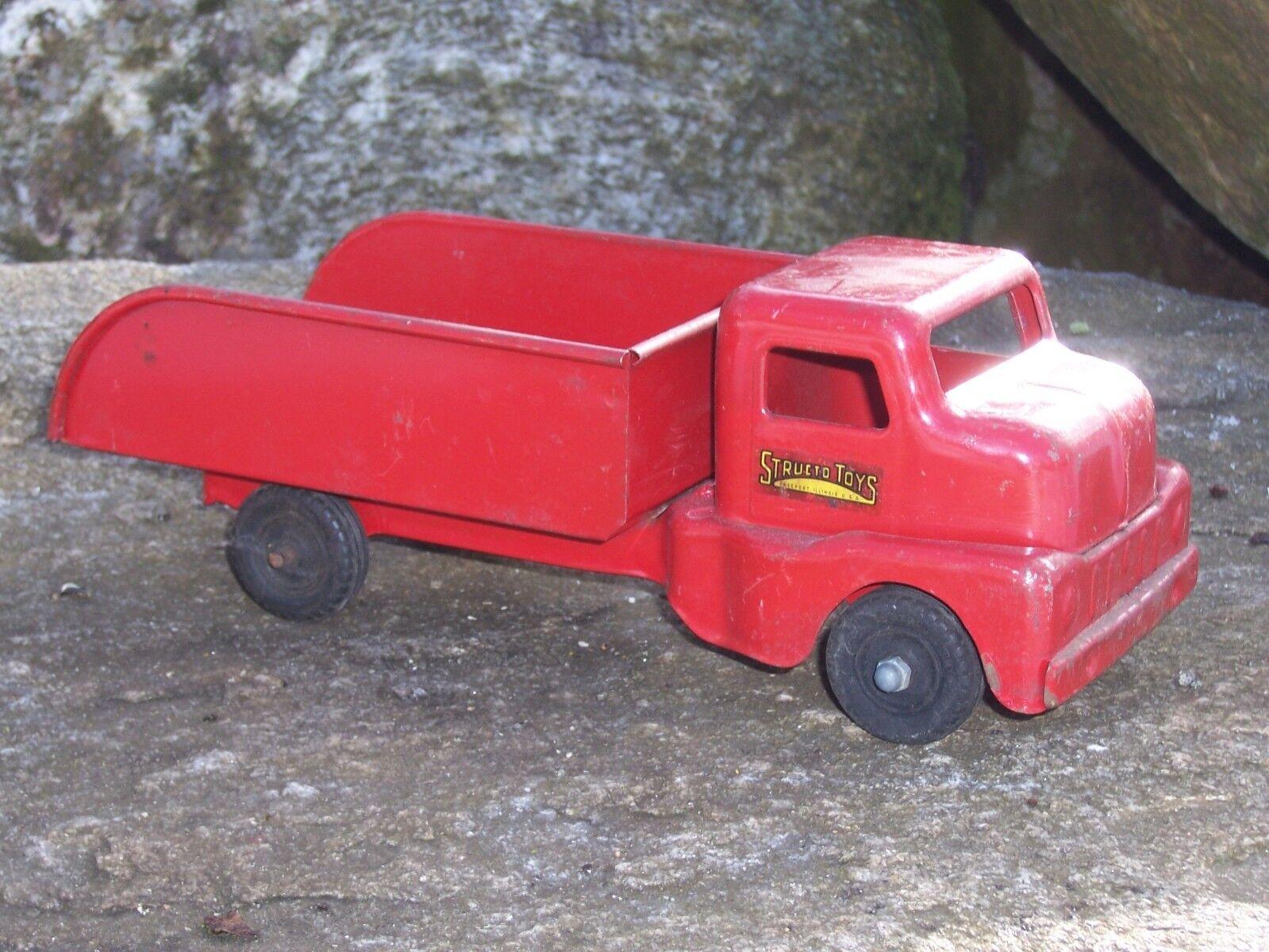 Antiguo Vintage Structo Camión Freeport Illinois Chapa De Acero Structo Camión De Juguete