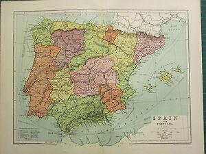 Cartina Spagna Isole Baleari.1904 Antica Mappa Spagna E Portogallo Isole Baleari Castiglia Navarra Aragona Ebay
