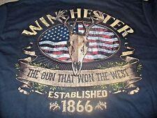 Winchester Men's SK  Hunting Rifle Gun American Flag Black T-Shirt Size Large L