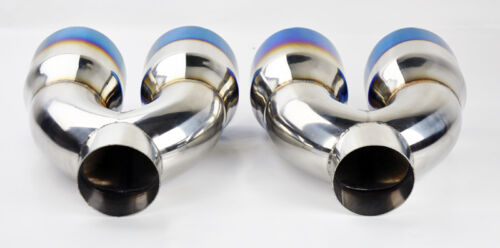 "Dual 4.0/"" Quad Burn Stainless Steel Exhaust Tips Fits Ford Mustang 1986-2017"