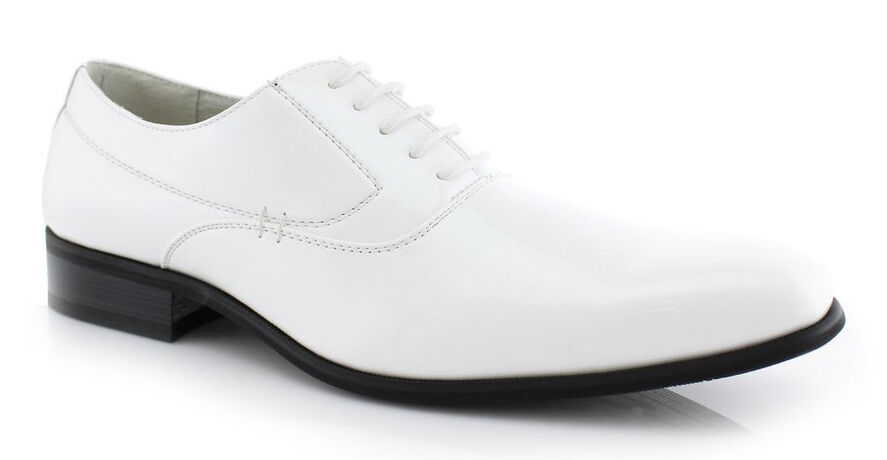 NEW FASHION MENS LACE UP PATENT OXFORDS CLASSIC LEATHER LINED DRESS SHOES WHITE