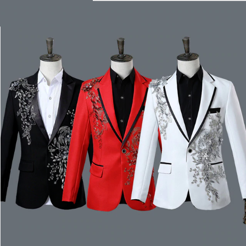 Embroiderot Jacket For Men Stylish Design Floral Long Sleeves Coat Waistcoat New