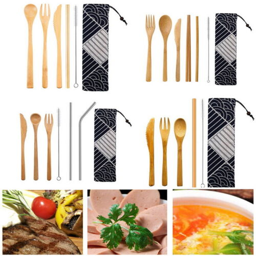 Flatware USA Portable Travel Set Bamboo Utensils Spoon Fork Tool Outdoor Bag