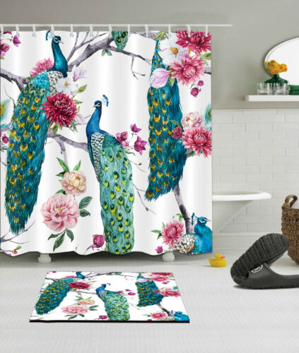 "60//72/"" Peacock Flower Tree Waterproof Fabric Decor Shower Curtain /&Bath Mat/&Hook"