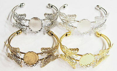 4 Colors of 25x18 mm Victorian Art Deco Two Butterfly Cuff Bracelets Settings