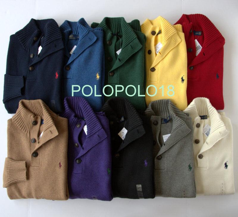 New 115 Polo Ralph Lauren Pony Half Button Sweater S M L XL 2XL