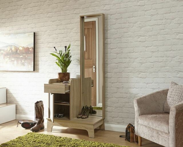 Luna Hallway Storage Mirrored Cabinet With Full Length Mirror Light Grey Oak