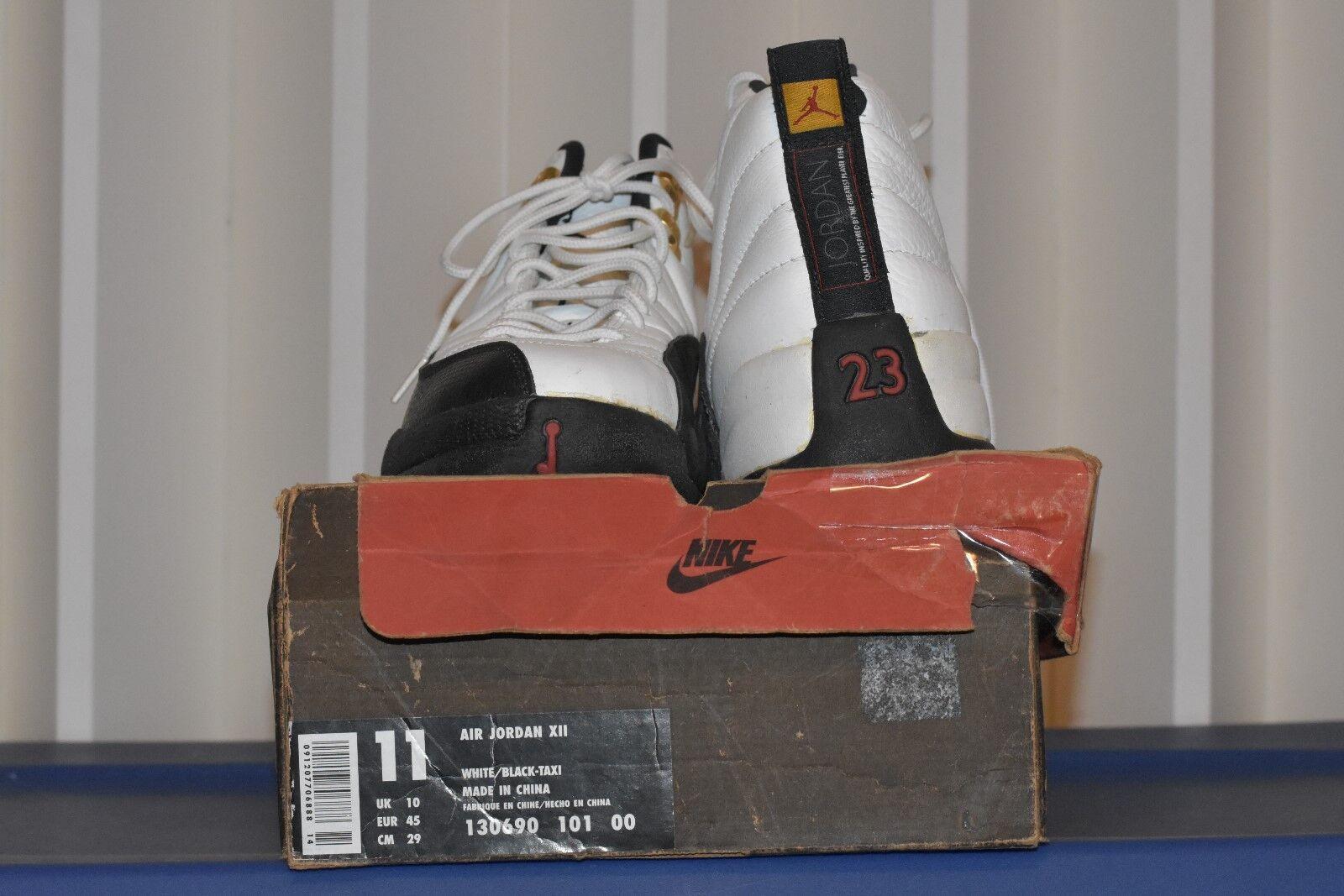 Nike Air Jordan X11 1996 Men wht blk-taxi retro 130690 101 00