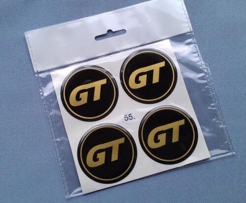 4x GT oro emblemi COPRIMOZZO PER CERCHIONI COPERCHIO 55mm in Silicone Adesivo gt55sg
