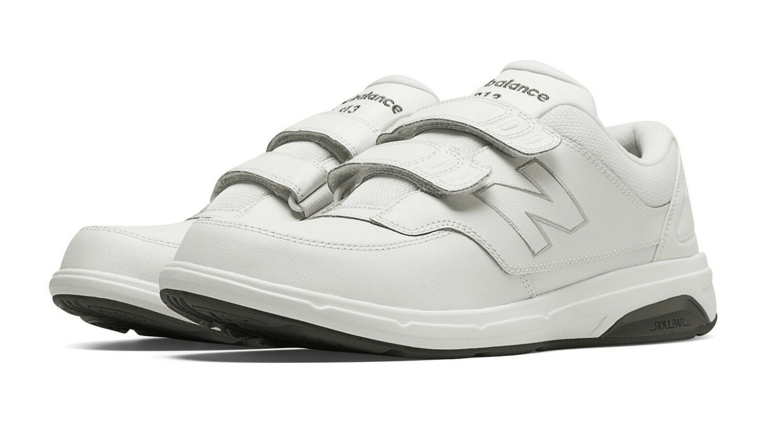 New Balance MW813HWT Men's Hook and Loop 813 White Leather Walking shoes