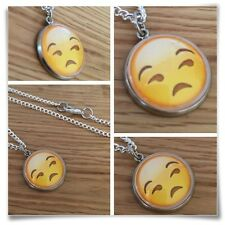Emoji face Frown eyebrow sad face Charm pendant necklace txt geek