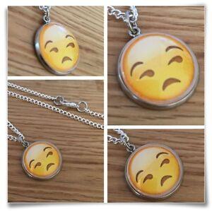 Emoji face Frown eyebrow sad face Charm pendant necklace txt geek