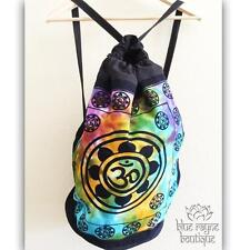 Fair Trade Indian OM Lotus Drawstring Tie Dye Cotton Canvas Hippie Yoga Backpack