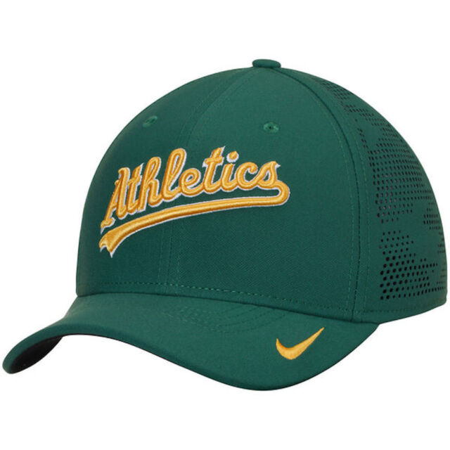 3ae0075551a NIKE Oakland A s Vapor Performance Adult Flex Fit Cap Green Yellow Athletics  NEW