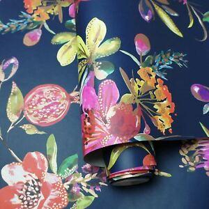 90521-Holden-Melgrano-Floral-Papier-Peint-en-Marine-Cuivre-Metallique-Meches