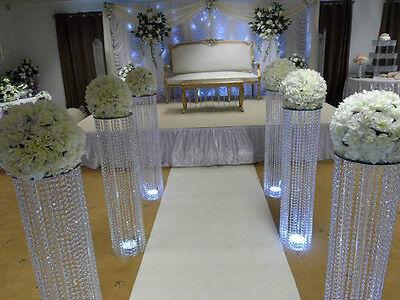 3 FEET IRIDESCENT WEDDING AISLE DECORATION CRYSTAL PILLARS COLUMNS PEDESTALS