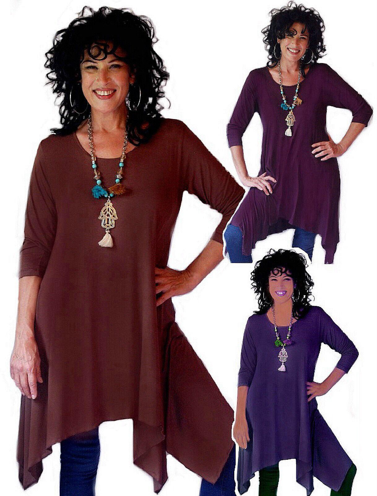 Pick Farbe & Größe long sleeve top blouse sexy lagenlook L XL 1X 2X 3X 4X 5X 6X