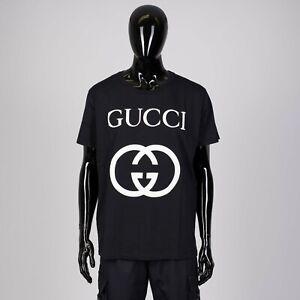 GUCCI-480-Oversize-Tshirt-With-Interlocking-G-In-Black-Cotton-sz-M