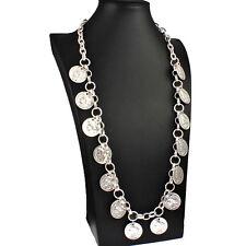 Chunky silver colour roman coin style charm pendant belcher 95 cm long necklace