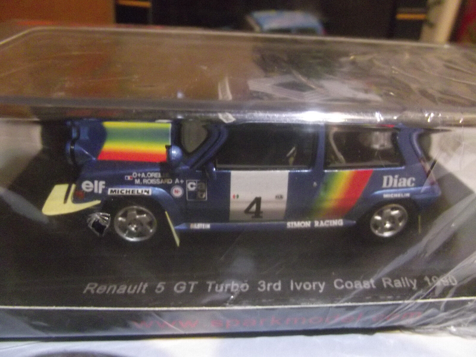 1:43 Spark 3860 Rallye Bandama Cote Ivoire 1990 Renault 5 GT Turbo Oreille