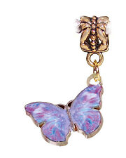 Lavender Purple Butterfly Enamel Gold Dangle Charm for European Bead Bracelets