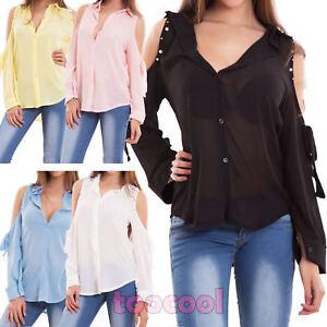 Camicia-donna-maglia-velata-spalle-scoperte-fiocco-perline-borchie-nuova-CJ-2498