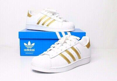 Adidas Superstar j Sneaker B39402 WhiteGold kids size 6 woman's size 7.5 889135102625 | eBay