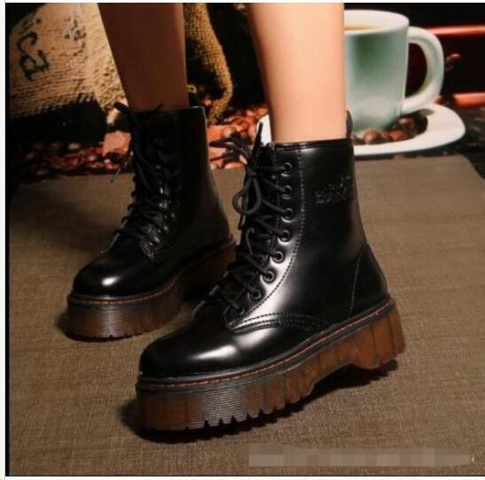 Vintage Womens Creeper Lace Up Ankle Boots Knight Punk Platform shoes Biker shoes