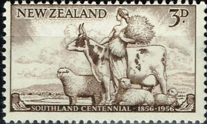 Initiative New Zealand Fauna Farm Animals Cow And Sheep Stamp 1956 Mnh Beau Lustre