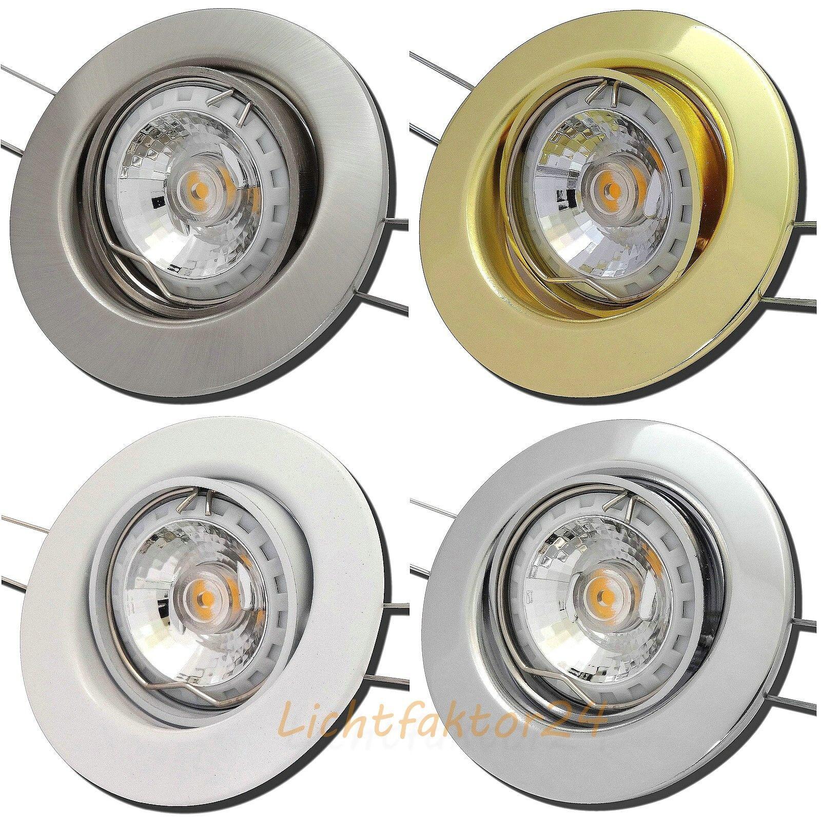 230V COB Power LED Einbauspots   5W=50W   Gu10   Ø=87mm & 45° schwenkbar   EEK A